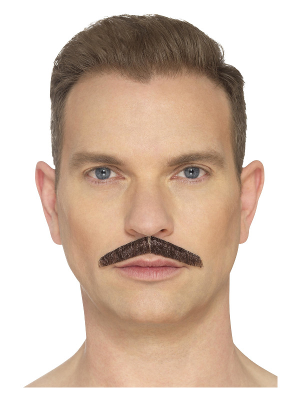 The Pencil Moustache, Brown, Hand Knotted, Deluxe