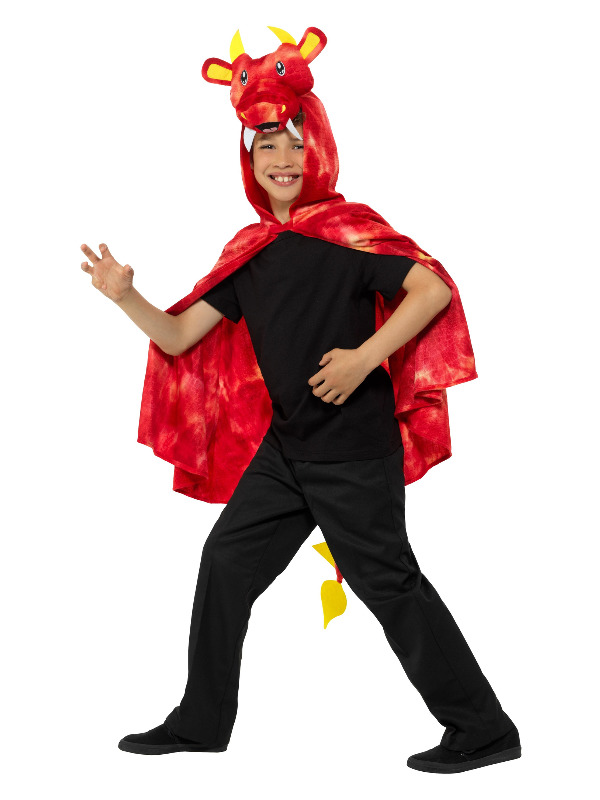 Dragon Cape, Red & Yellow, with Hood & Tail