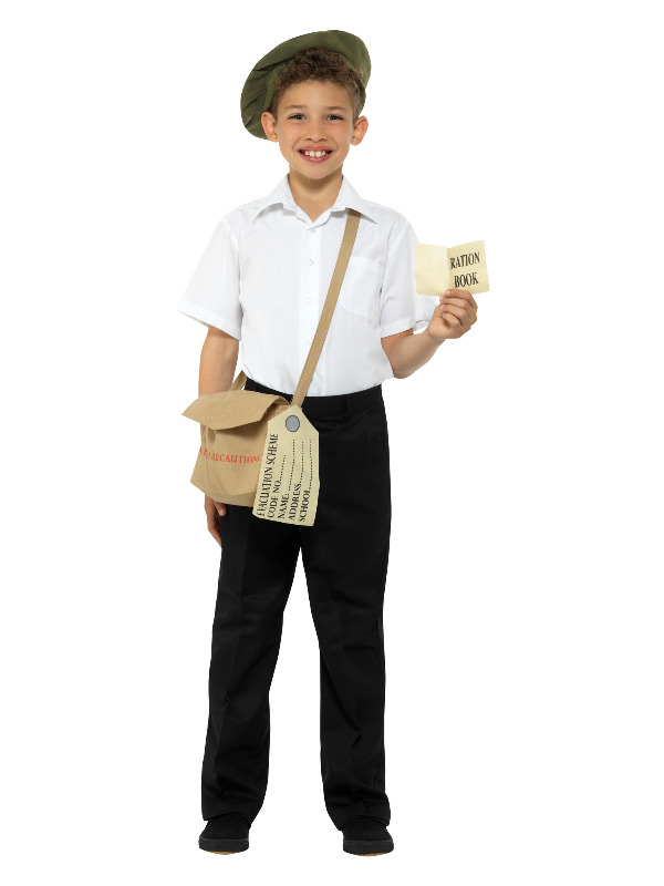 Evacuee Instant Kit, Brown, with Hat, Bag & Ration Book