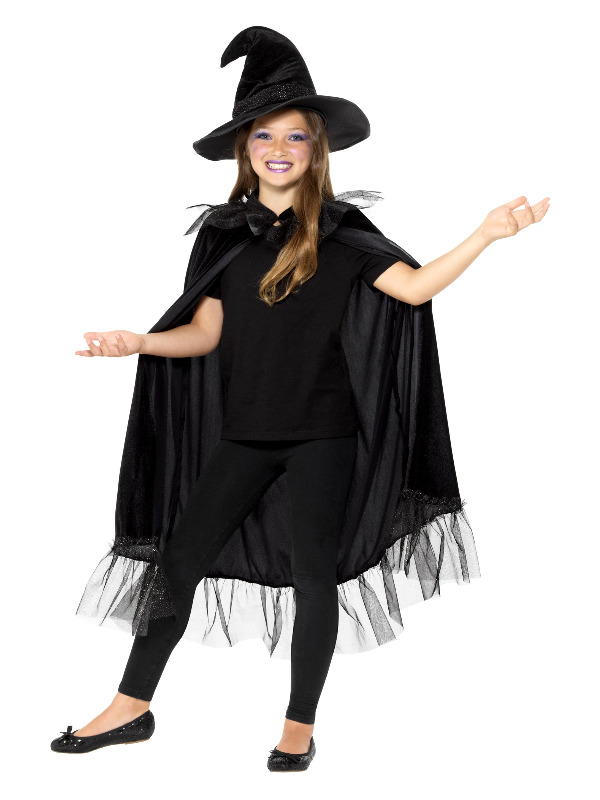 Sparkly Witch Kit, Black, with Cloak & Hat