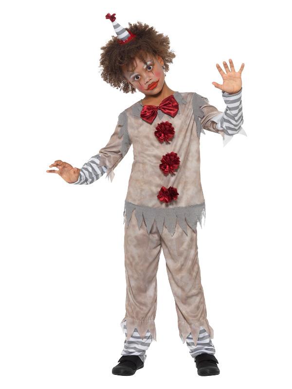 Vintage Clown Boy Costume, Grey & Red