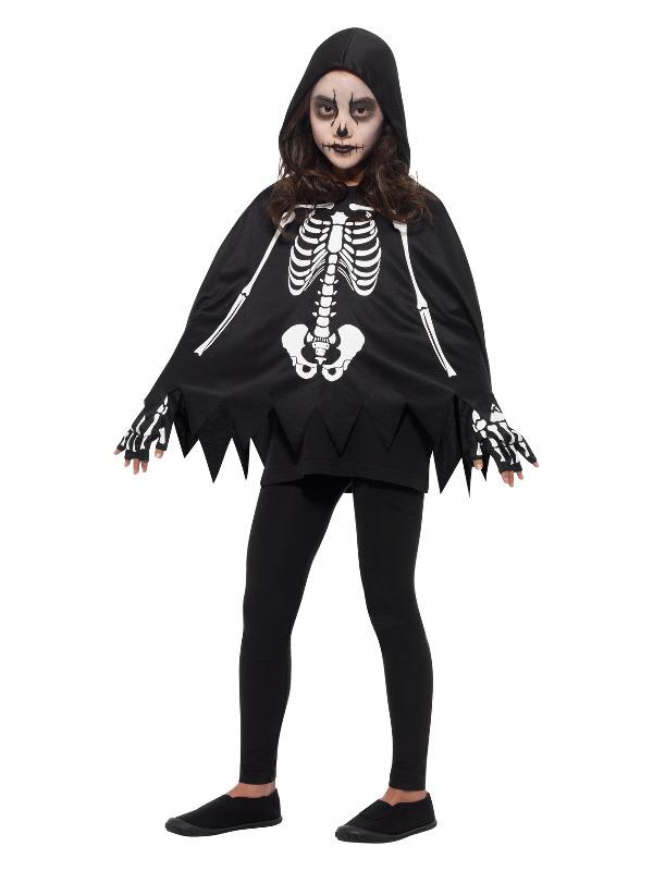Skeleton Kit, Black & White, with Poncho & Gloves