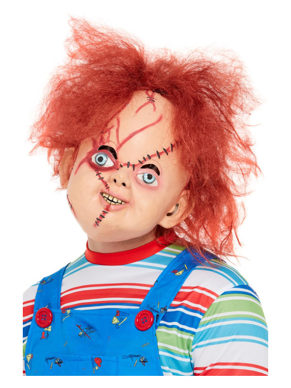 Chucky Latex Mask, Brown, Full Overhead with Stitch Detail