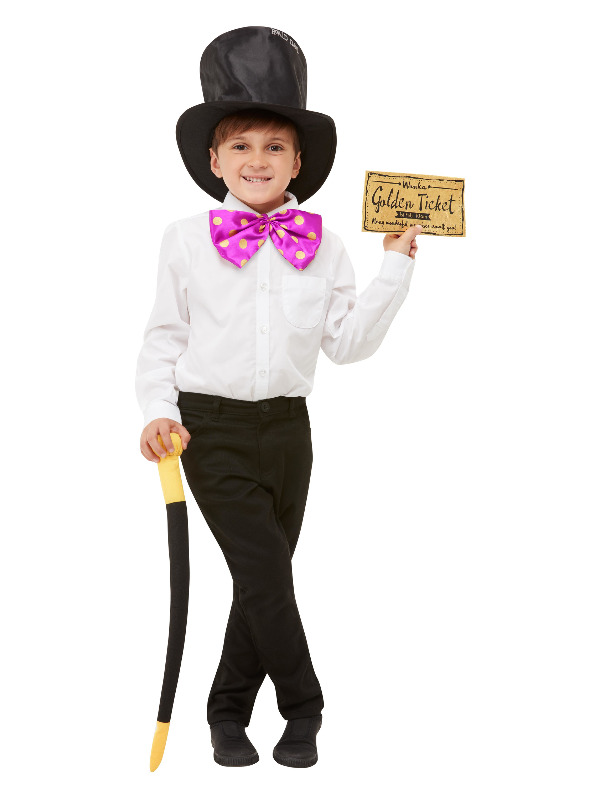 Roald Dahl Willy Wonka Kit, Black, with Hat, Bow Tie, Cane & Golden Ticket