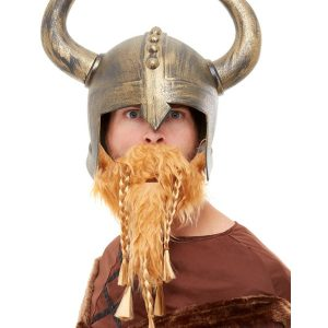 Viking Helmet, Gold, with Beard