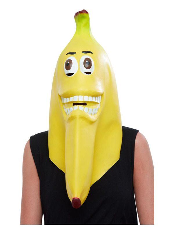 Banana Latex Mask, Yellow, Full Overhead