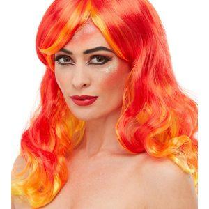 Smiffys Make-Up FX, Fire Aqua Kit, Red, with Facepaints, Glitter Pot & Applicators
