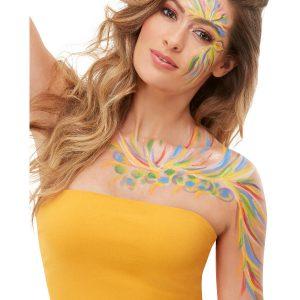 Smiffys Make-Up FX, Rainbow Festival Kit, with Aqua Cream Paints & Applicators