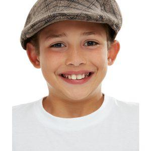 Kids Flat Cap, Brown & Black