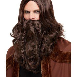 Viking Barbarian Kit, Brown, with Wig & Beard