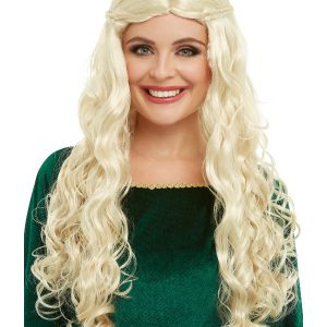Medieval Dragon Goddess Wig, Blonde, Long with Plaits