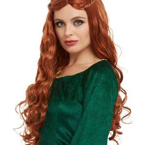 Medieval Princess Wig, Auburn, Long with Plaits