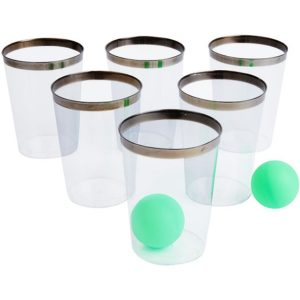 Party Pong Game, Gin Edition, Multi-Coloured, with 12 Glasses & 2 Balls