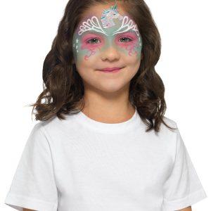 Smiffys Make-Up FX, Kids Unicorn Kit, Aqua, Multi-Coloured, with Trio Pot, Sponge, Brush & Stickers