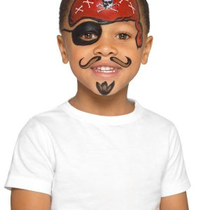 Smiffys Make-Up FX, Kids Pirate Kit, Multi-Coloured, with Trio & Double Pots, Sponge, Brush & Stickers