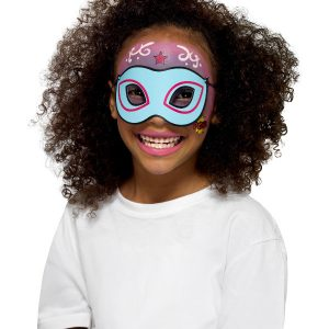 Smiffys Make-Up FX, Kids Superhero Kit, Aqua, Multi-Coloured, with 8 Colours, Sponges, Brush, Stickers & 4 Masks