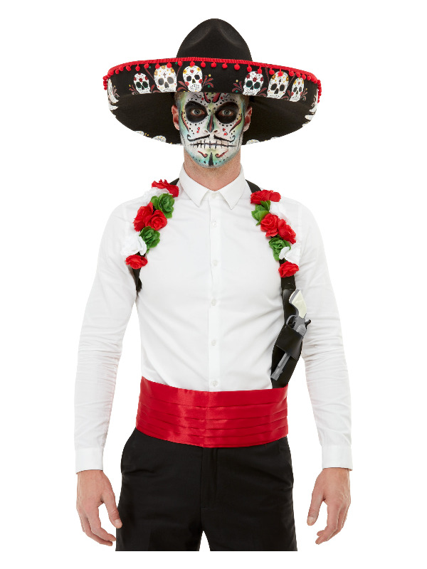 Day Of The Dead Kit, Red, with Sombrero, Holster & Cummerbund