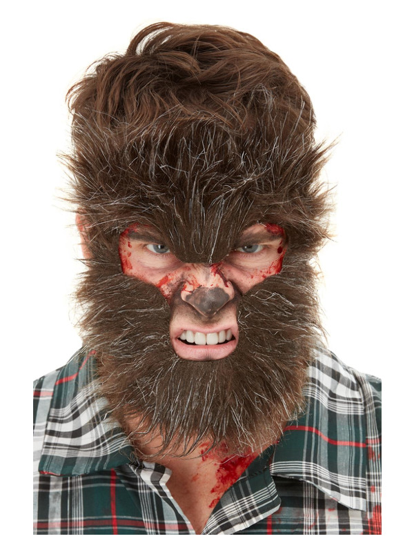 Smiffys Make-Up FX, Werewolf Face Fur, Brown, on Elastic