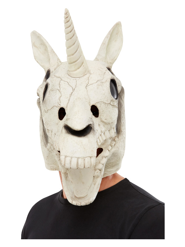 Unicorn Skull Latex Mask, White