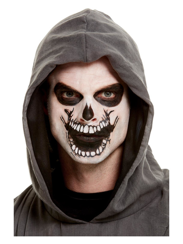 Smiffys Make-Up FX, Skeleton Mouth Face Transfer, White, with Facepaint, Pencil, Transfer & Sponge