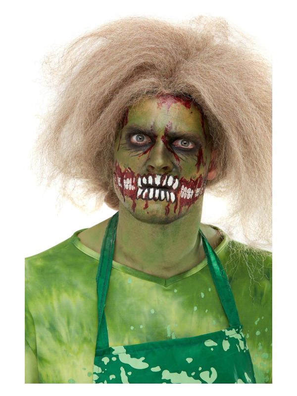 Smiffys Make-Up FX, Zombie Face Transfer, Green, with Facepaint, Blood, Pencils, Transfer & Sponge