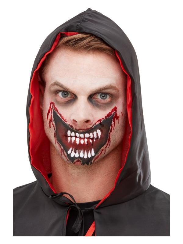 Smiffys Make-Up FX, Slashed Mouth Kit, Aqua, Red, Facepaint, Blood, Transfer, Sponge & Applicator