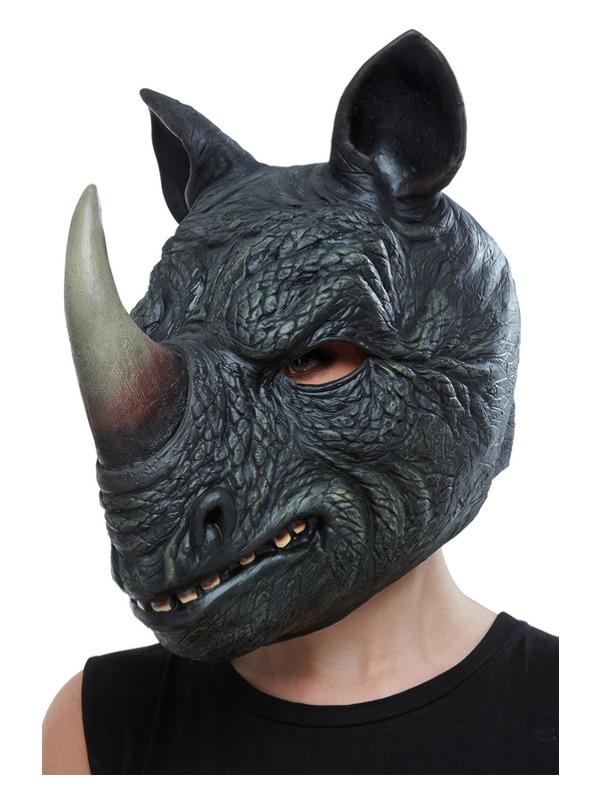 Rhino Latex Mask, Grey, Full Overhead