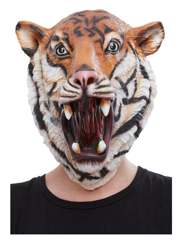 Tiger Latex Mask, Orange & Black, Full Overhead