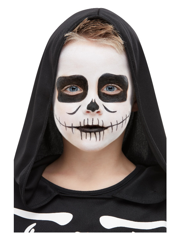 Smiffys Make-Up FX, Kids Skeleton Kit, Aqua, Black & White, Facepaint, Crayon, Sponge & Applicator