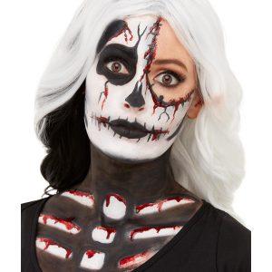 Smiffys Make-Up FX, Skeleton Kit, Aqua, Black & White, Facepaints, Crayon, Blood & Sponge