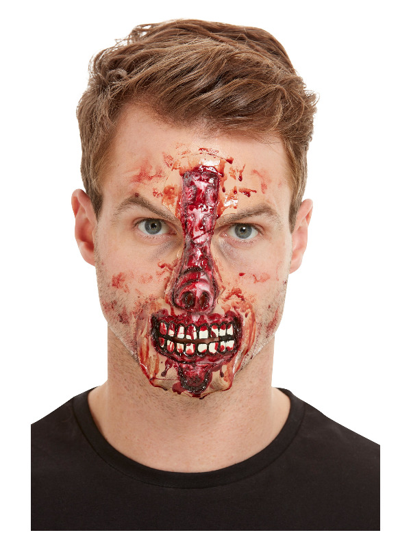 Smiffys Make-Up FX, Exposed Nose & Mouth Latex Face Wound, Red