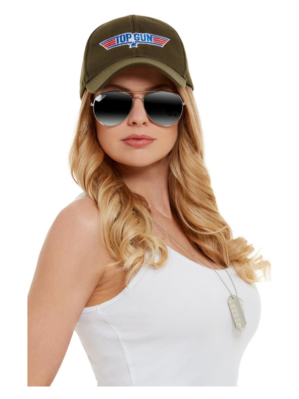 Top Gun Instant Kit, Khaki, with Hat, Aviator Glasses & Dog Tags