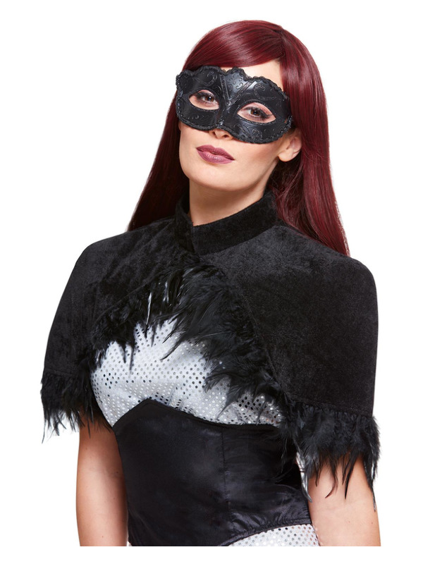 Dark Crow Kit, Black, with Feather Capelet & Mask