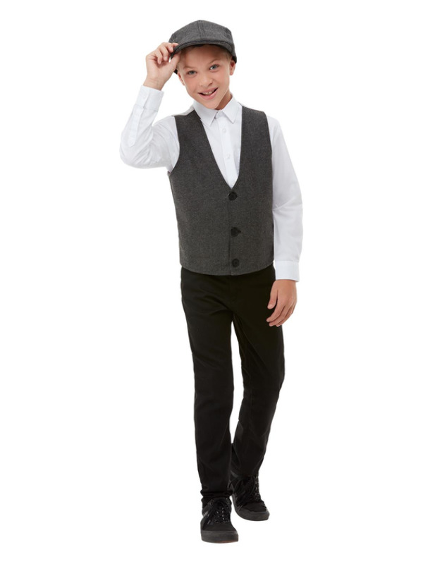 20s Gangster Boy Kit, Grey, with Flat Cap & Waistcoat