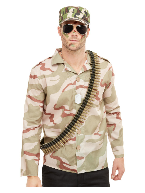 Army Instant Kit, Green, with Hat, Dog Tags, Bullets & Aviator Glasses