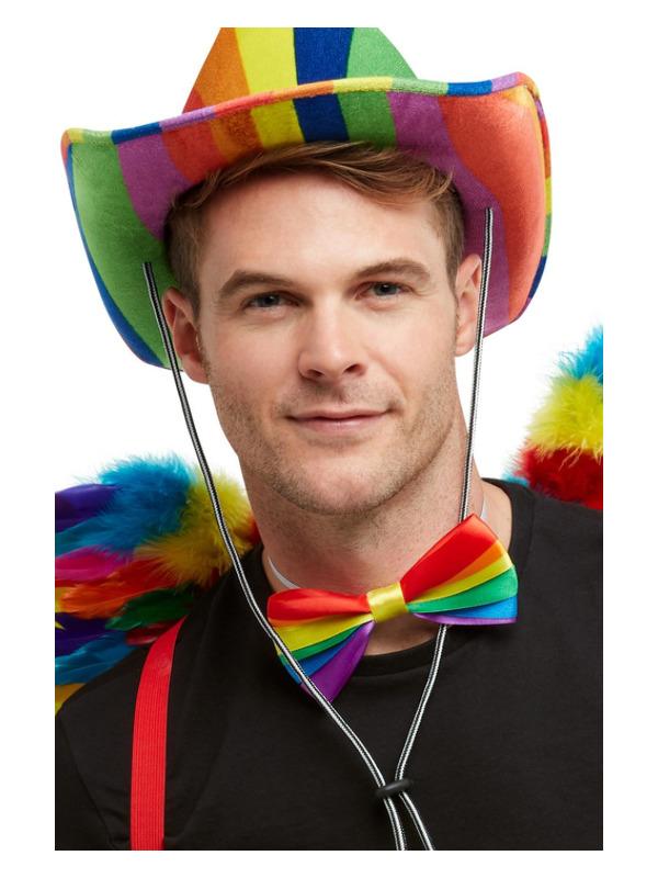 Rainbow Bow Tie, Multi-Coloured, Elasticated