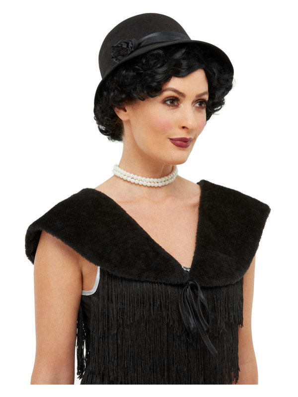 1920s Instant Kit, Black, with Hat & Faux Fur Stole