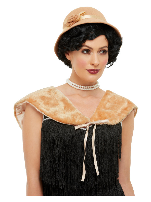 1920s Instant Kit, Cream, with Hat & Faux Fur Stole