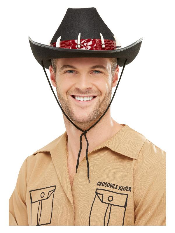 Outback Adventurer Hat, Black, with Crocodile Teeth