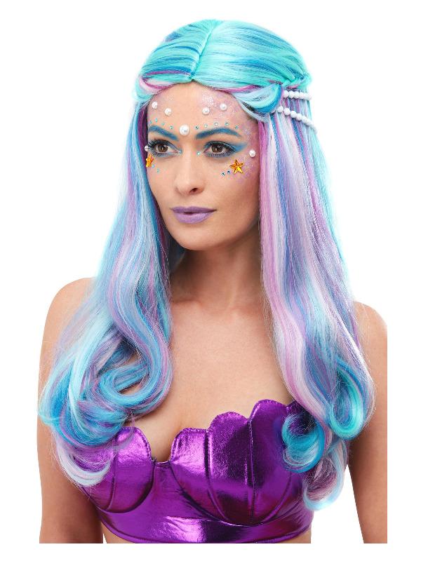 Mermaid Wig, Blue, with Pearls