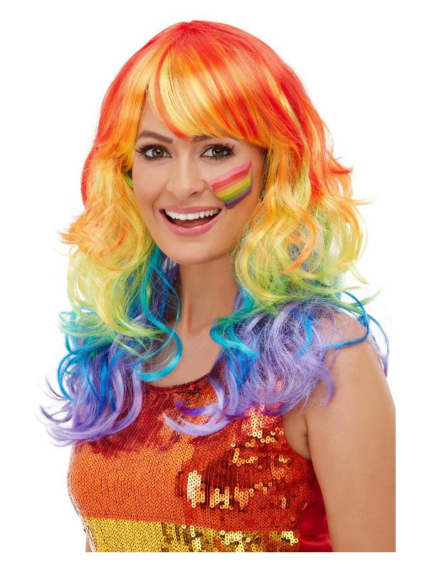 Rainbow Glam Wig, Multi-Coloured