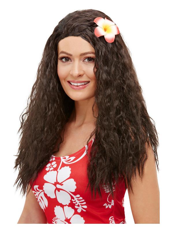 Hawaiian Wig, Brown, with Flower