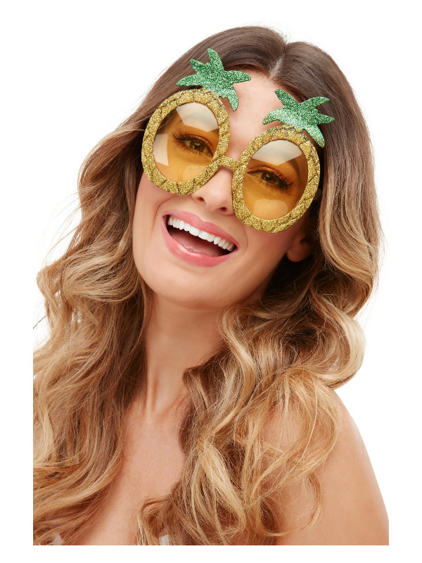 Tropical Pineapple Glitter Glasses, Yellow