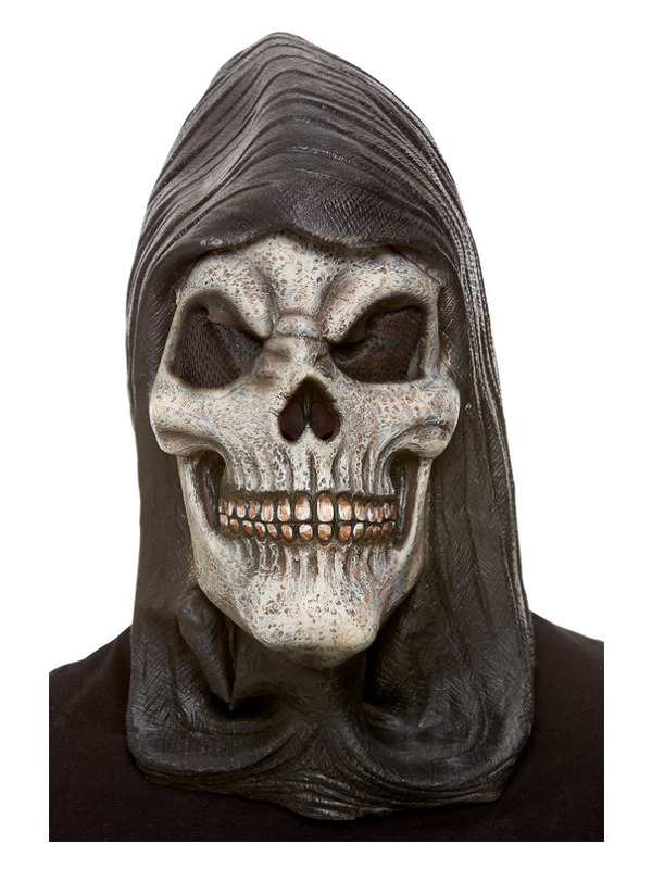 Hooded Skeleton Latex Mask, White
