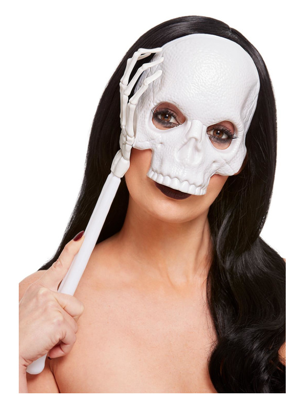Handheld Skull Mask, White, PVC