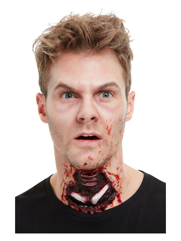 Smiffys Make-Up FX, Latex Exposed Throat Wound, Red, with Adhesive