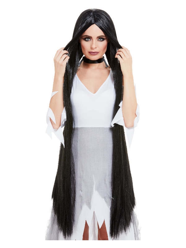 Witch Wig Extra Long, Black, 120cm Long