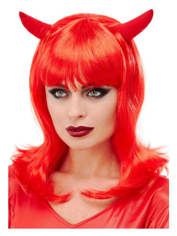 Devil Wig, Red, with Horns