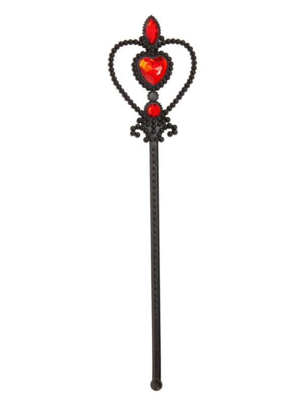 Witch Wand, Black, with Red Gems 32cm/13in