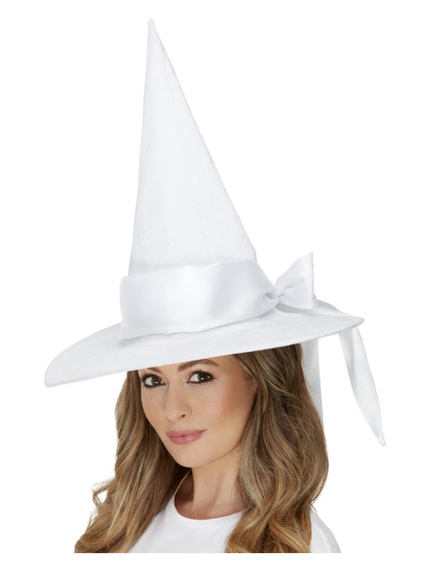 Deluxe Witch Hat, White, with Bow